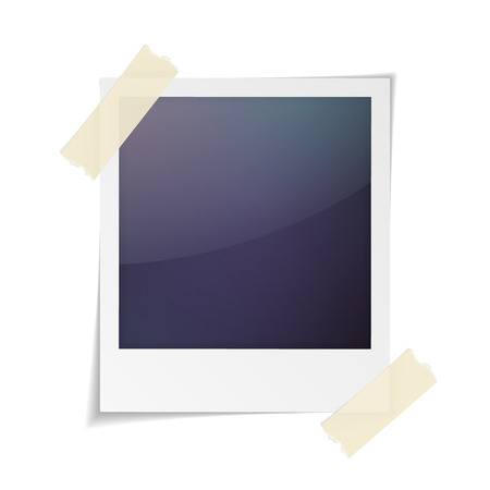 Vector illustration of blank retro photo frame isolated on white background