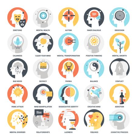 Ícones de psicologia humana Ilustración de vector