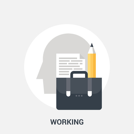 personality development: Abstract vector illustration of working icon concept