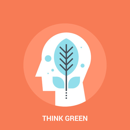 personality development: Abstract vector illustration of think green icon concept