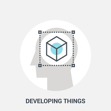 brain illustration: Abstract vector illustration of developing things icon concept