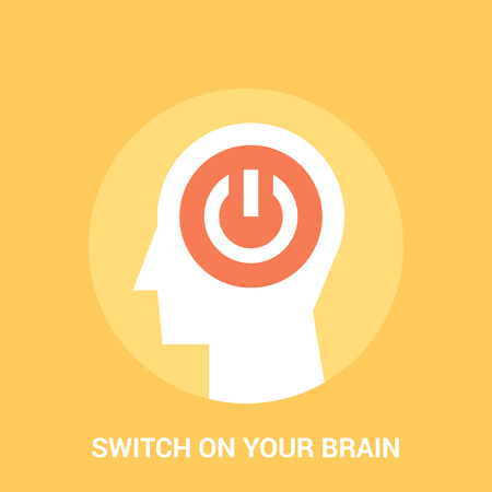 Abstract vector illustration of switch on your brain icon concept Illustration