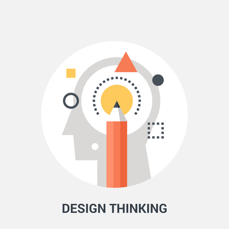personality development: Abstract vector illustration of design thinking icon concept