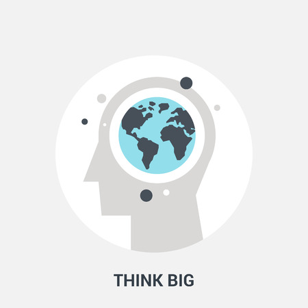 brain illustration: Abstract vector illustration of think big icon concept