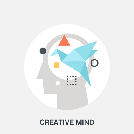 personality development: Abstract vector illustration of creative mind icon concept Illustration