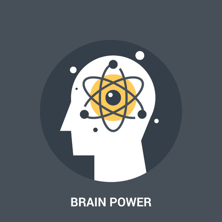 personality development: Abstract vector illustration of brain power icon concept