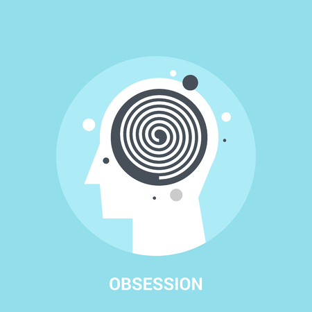 brain illustration: Abstract vector illustration of obsession icon concept Illustration