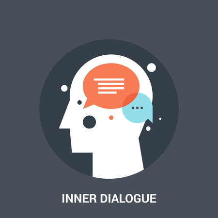 learning icon: Abstract vector illustration of inner dialogue icon concept