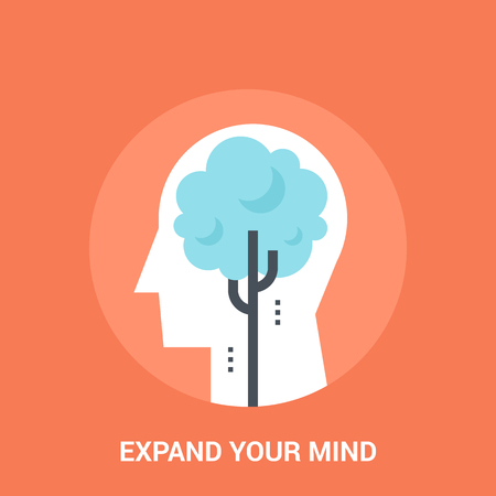 personality development: Abstract vector illustration of expend your mind icon concept