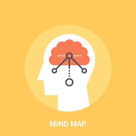 brain illustration: Abstract vector illustration of mind map icon concept