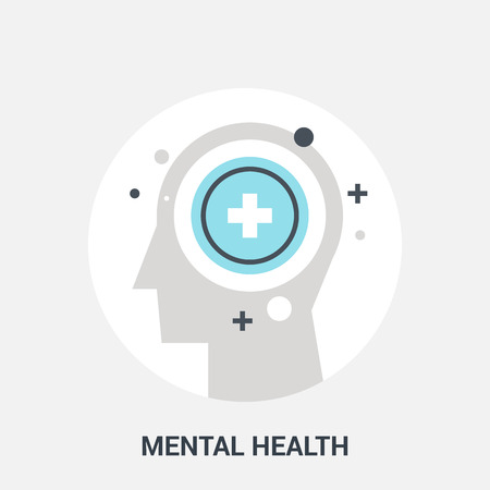 mental work: Abstract vector illustration of mental health icon concept Stock Photo