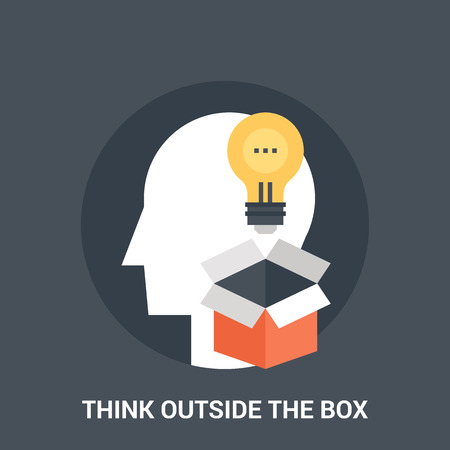 think outside the box icon concept Illustration