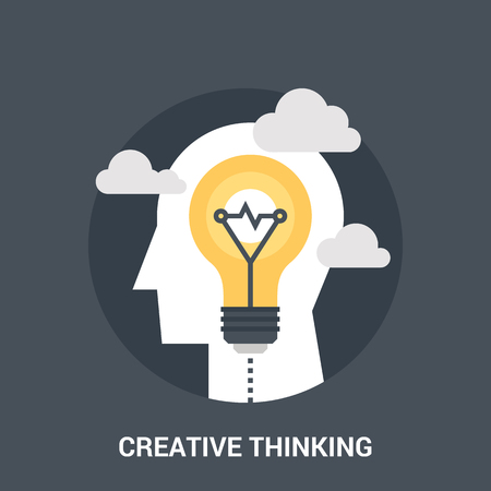 personality development: creative thinking icon concept