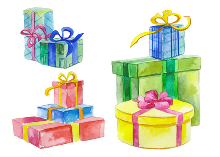 holiday party: Watercolor gift boxes Illustration