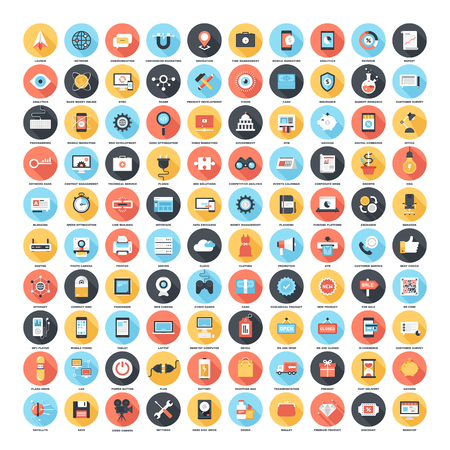 consumer society: Long Shadow Web Icons Illustration