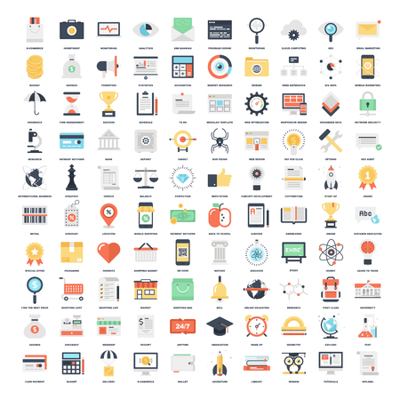 knowledge business: Vector set of 150 flat web icons on following themes - SEO and development, business and finance, shopping and commerce, education and knowledge