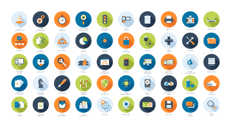 electronic: Vector collection of flat SEO and technology icons. Design elements for mobile and web applications.