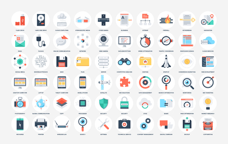 hardware store: Vector collection of flat SEO and technology icons. Design elements for mobile and web applications.