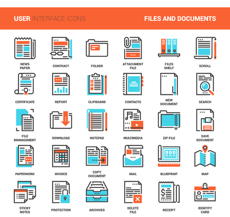 Files and documents flat line icons
