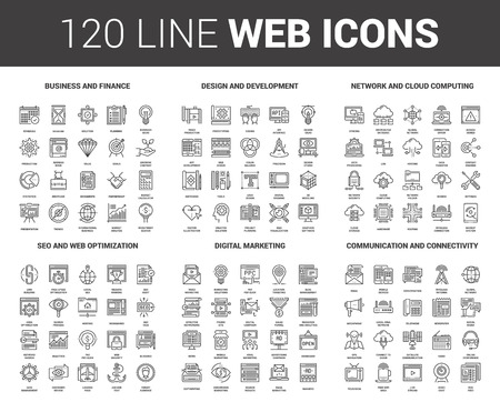 Flat Line Web Icons Stock Vector - 82678210