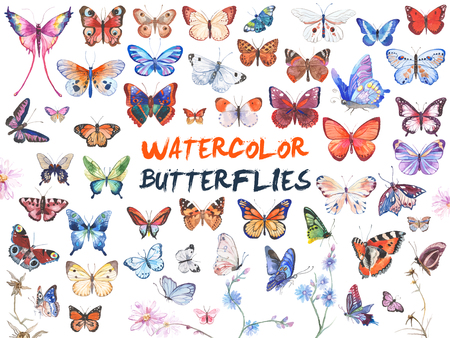 Watercolor butterflies illustration 版權商用圖片 - 82678226