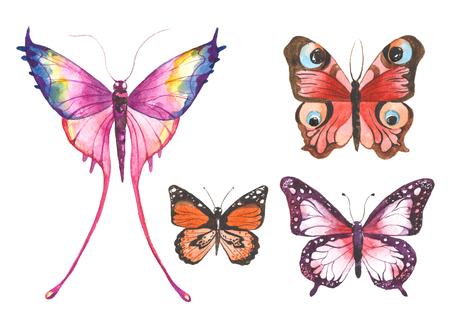 textured: Watercolor butterflies illustration