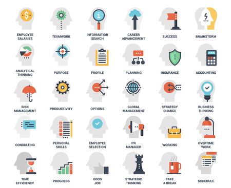 Business and staff management icon set Vectores