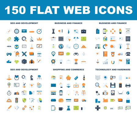 Icônes Web plat vector illustration. Banque d'images - 99993474