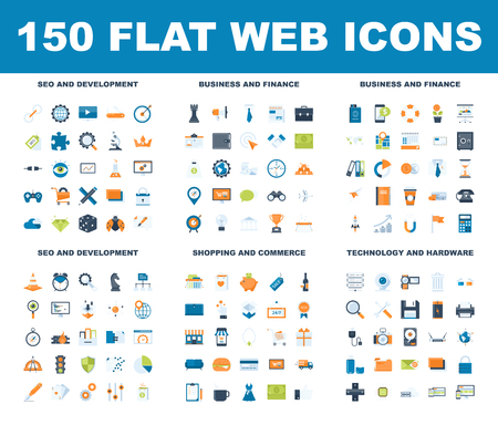 Flat Web Icons vector illustration. Stock Illustratie