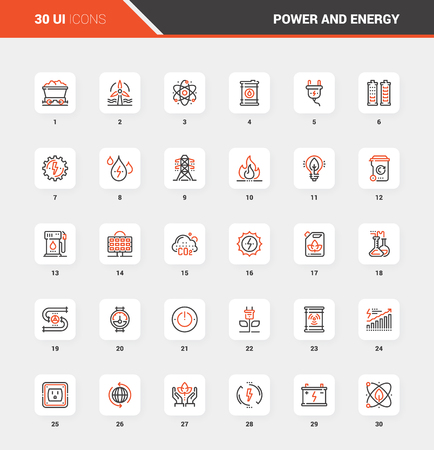 Power and Energy Flat Line Web Icon Concepts
