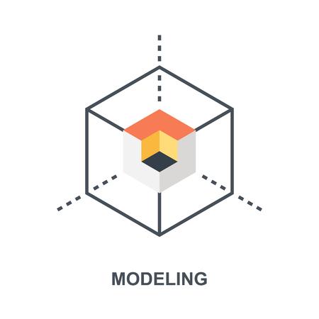 3D Modeling icon concept Ilustração