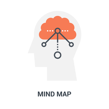 mind map icon concept Vetores
