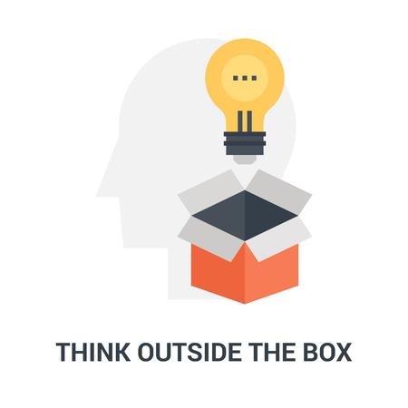 think outside the box icon concept Ilustração