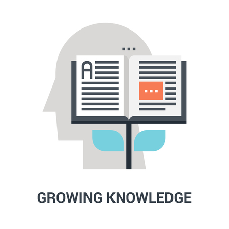 Abstract vector illustration of growing knowledge icon concept Ilustração