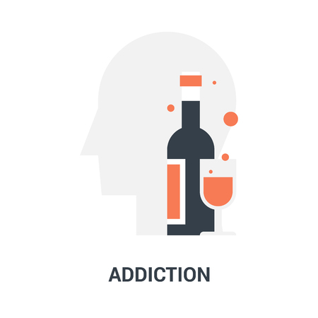 Abstract vector illustration of addiction icon concept