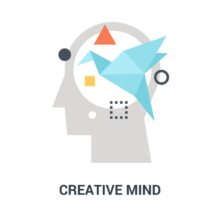 Abstract vector illustration of creative mind icon concept Ilustração
