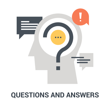 questions and answers icon concept Çizim
