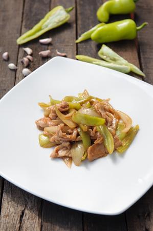 Stir Fried Green Chili with pork Stock Photo