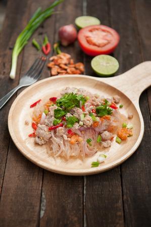 sen: Glass Noodle Pork Nut Spicy Salad(Yum Woon Sen) Stock Photo