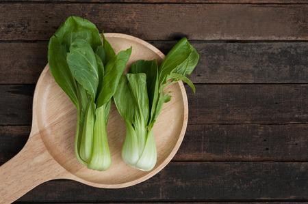 bok choy: Chinese cabbage or bok choy on wooden