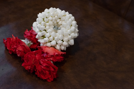 Thai traditional jasmine garland.symbol of Mothers day in thailand to offer the monk or buddha.
