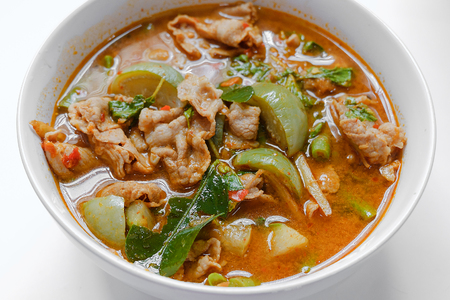 Hot Spicy curry with pork in white bolw Thai food