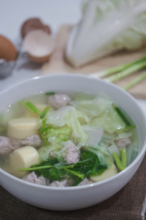 Clear Soup with Tofu and Minced Pork - Kang Jued Tao Hoo Stok Fotoğraf