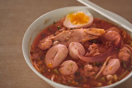 Yen Ta Fo Noodle (Pink Noodle Soup) Yong tau foo (also spelled yong tao foo, yong tau fu, yong tau hu or yong tofu; yentafo in Thailand)