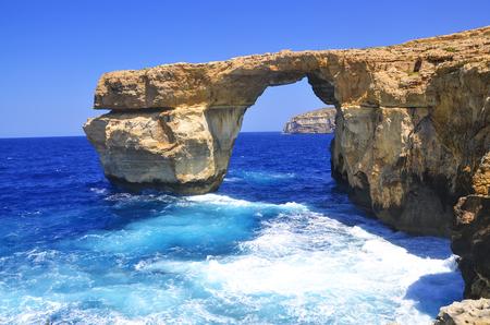 Azure Window famous stone arch of Gozo island, Malta