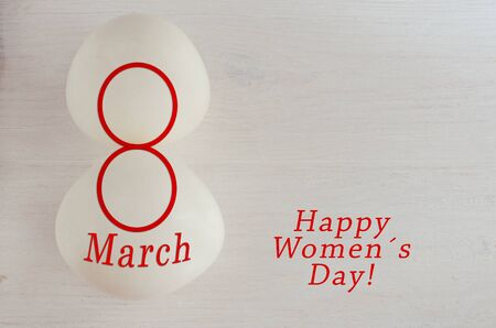 International Women Day greeting card for cerebration 8 th March. Copy space.