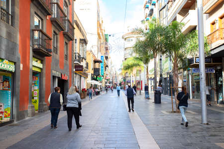 TENERIFE, SPAIN - December 24, 2019: Calle Castillo is It is a central and busy pedestrian street of the capital of Tenerife with wide range of specialty stores and restaurants.