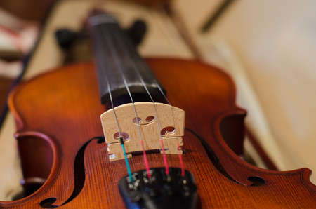 Close up of the violin in the case. Shallow deep of field. Blur style background.