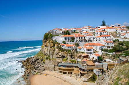 Beautiful coastal view of Praia Azenhas do Mar near Sintra, Lisbon. Praia Azenhas do Mar is one of the best beach in Portugal.