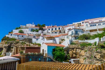 Azenhas do Mar, white village on the cliff neare Sintra, Lisbon, Portugal.
